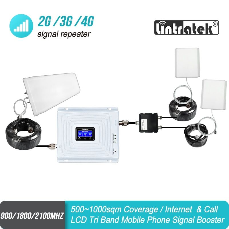 Lintratek Big Cover Tri Band GSM 900 UMTS 2100 4G 1800 Mobile Signal Booster Two Indoor Antennas Repeater Amplifier Set S34