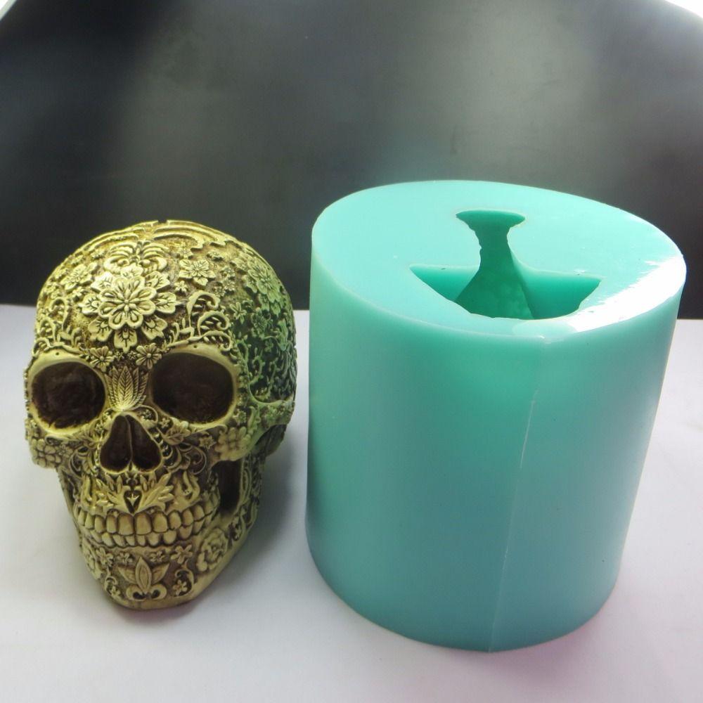 QT0006 Silica gel Halloween Plum blossom Skull silicone mold 3D skulls head soap cake chocolate fondant cake mold kitchen moulds