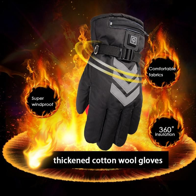 US/EU Plug Winter Thicken Heated Gloves Hand Warmer Rechargeable Battery Powered For Motorcycle Ski Cycling Electric Gloves