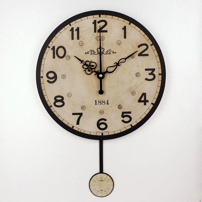 Silencieux grande horloge murale décorative design moderne vintage ronde horloge murale décor à la maison 12888 horloge mouvement maison mur montres