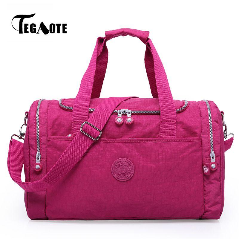 TEGAOTE Large Capacity Travel Bag Women Duffle Luggage Bags Casual Tote Nylo Portable Folding Handbags Female Weekend Bags Sac