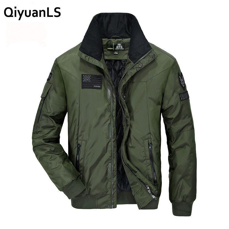 QiyuanLS Parka Chaqueta de Invierno de Los Hombres Chaquetas Casuales Ejército Militar Del Collar Del Soporte Macho Otoño Abrigos chaqueta hombre Parkas Cortavientos