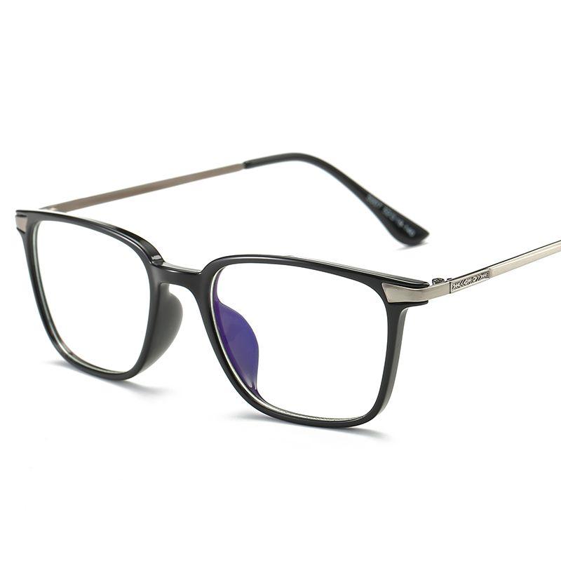 Lunettes carrées myopie lunettes cadre noir TR90 titane ordinateur lunettes avec lentille claire optique lunettes de protection femmes hommes