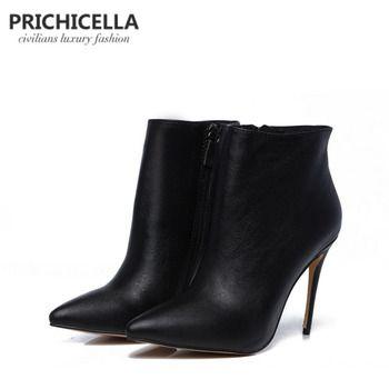 PRICHICELLA Qualité femmes en cuir véritable hiver bottes bout pointu noir talons aiguilles bottines size34-42