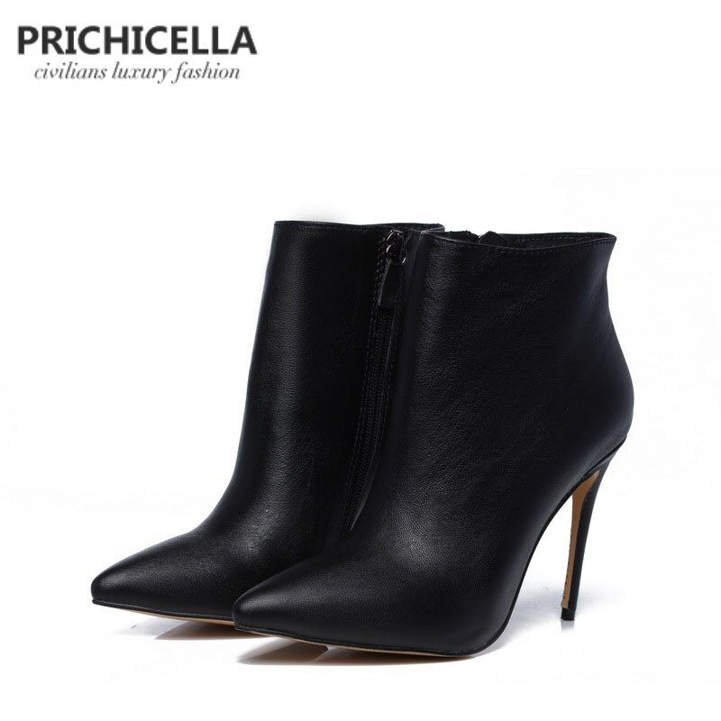 PRICHICELLA Quality women genuine leather winter boots <font><b>pointed</b></font> toe black stiletto heels ankle booties size34-42