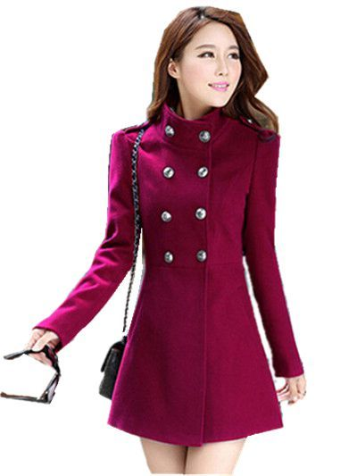 2017 Autumn Winter Women A-line Skirt Coat Double Breasted Slim Medium-Long Solid Color Trench Coats Female Jackets