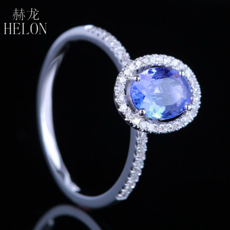 HELON 7x5mm Oval Shape 0.83ct Tanzanite Pave Natural 0.2ct Engagement Wedding Ring For Women's Jewelry Solid 10k White Gold