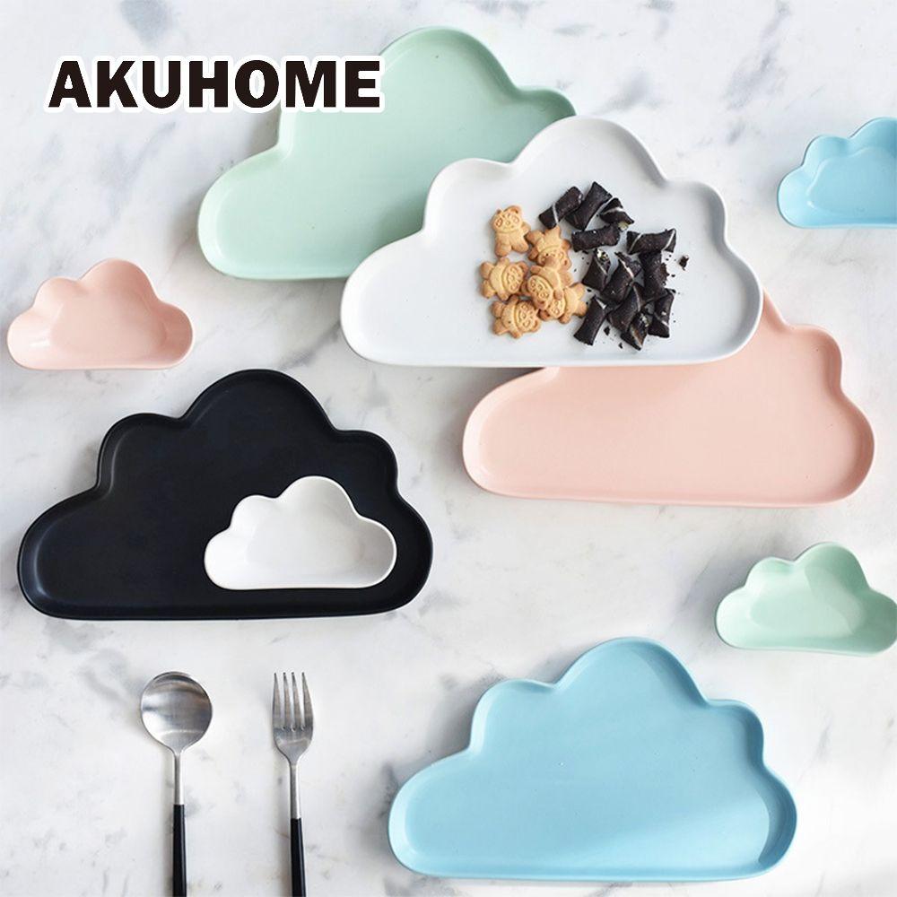 Assiette en céramique porcelaine nuage pluie mat lisse roman vaisselle mignonne vaisselle enfant enfants bébé