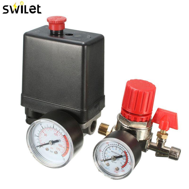 7.25-125 PSI Small Air Compressor Pressure Switch Control 15A 240V/AC Adjustable Air <font><b>Regulator</b></font> Valve Compressor Four Holes