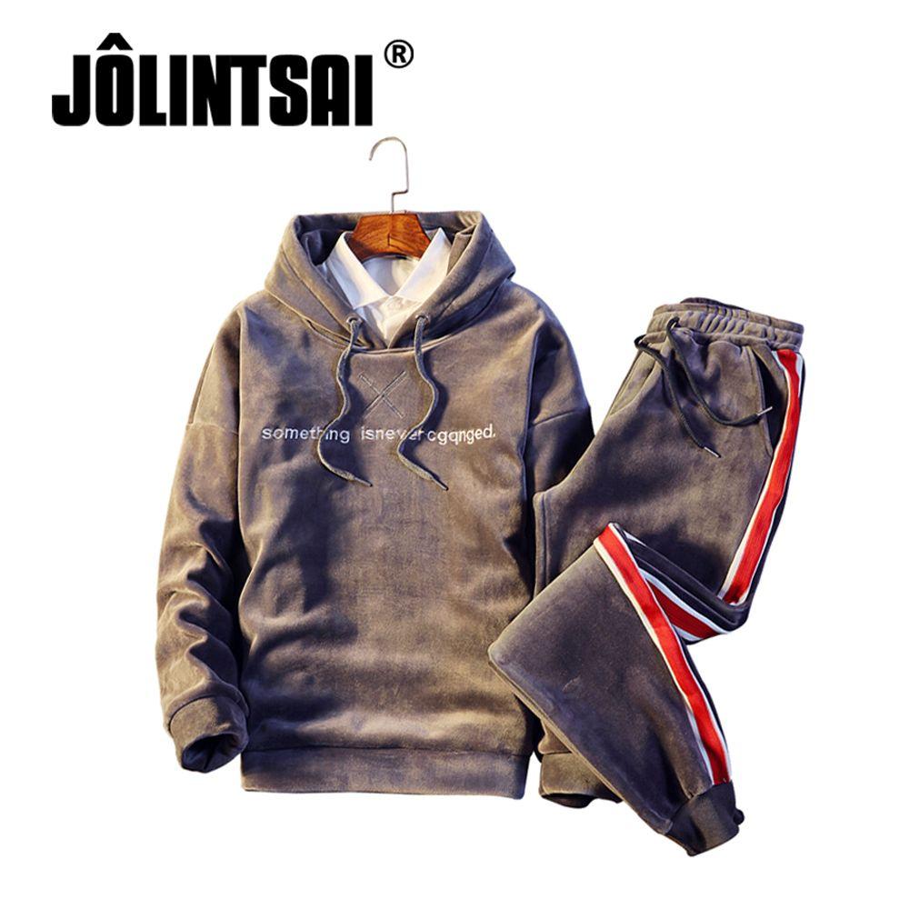 Übergroßen M-5XL Winter Hoodie Trainingsanzug Männer Dicke Warme Gold Samt Sweatshirt Männer Sets Casual Gestreiften Pullover Herren-sportbekleidung