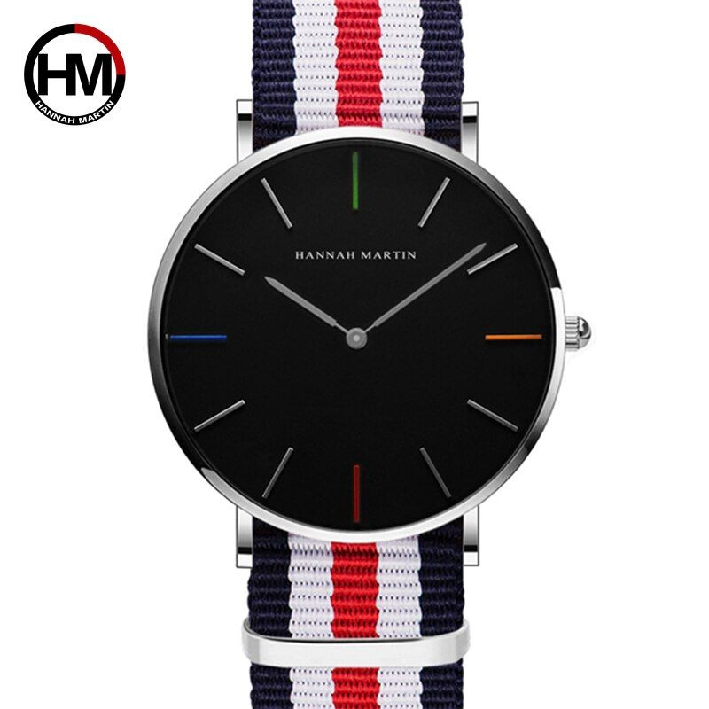 Hannah Martin amantes de la moda reloj hombres 2018 plata negro Relojes de cuarzo banda de nylon mujeres de la pulsera para el vestido dropshipping