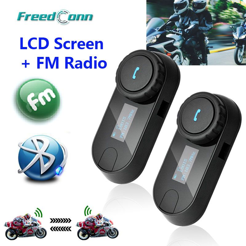 New Updated Version! 2pcs * FreedConn T-COMSC Bluetooth Motorcycle Helmet Intercom Interphone Headset LCD Screen + FM Radio
