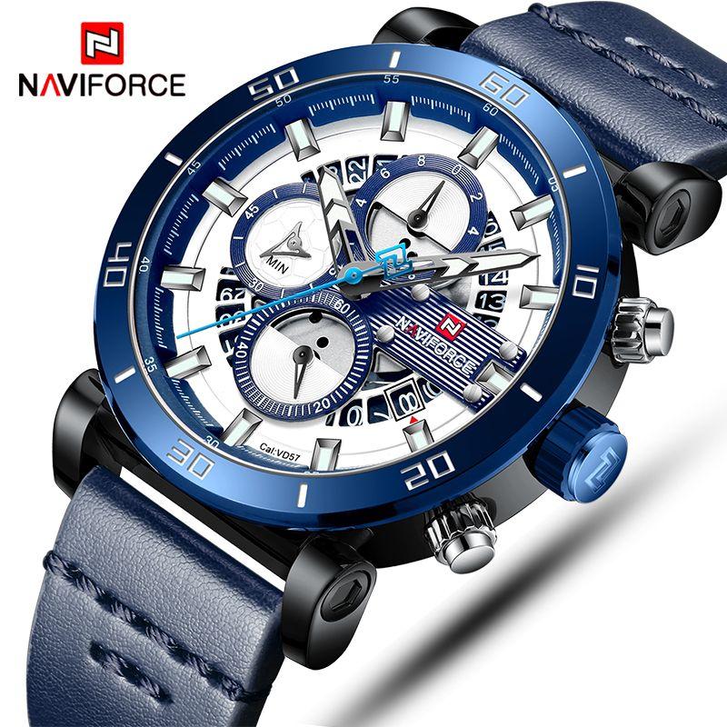 NAVIFORCE Herren Sport Uhren Männer Top Marke Luxus Leder Quarz Automatische Datum Uhr Männlichen Armee Militär Wasserdichte Armbanduhr