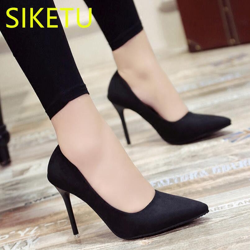 2017 Envío gratis SIKETU Primavera y otoño zapatos de Las Mujeres de Alta zapatos de tacón zapatos de trabajo bombas g193 Tres talones del 10 CM 7 CM 4 CM
