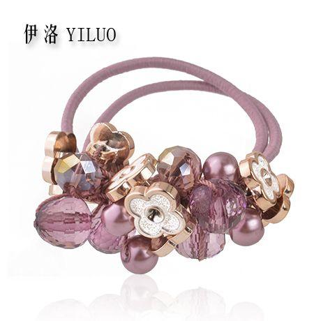 Femmes Cheveux Accessoires Cristal Cheveux Corde Perles Chouchou Cheveux Cravates Fleur Élastique Bandes de Cheveux Pour Les Filles