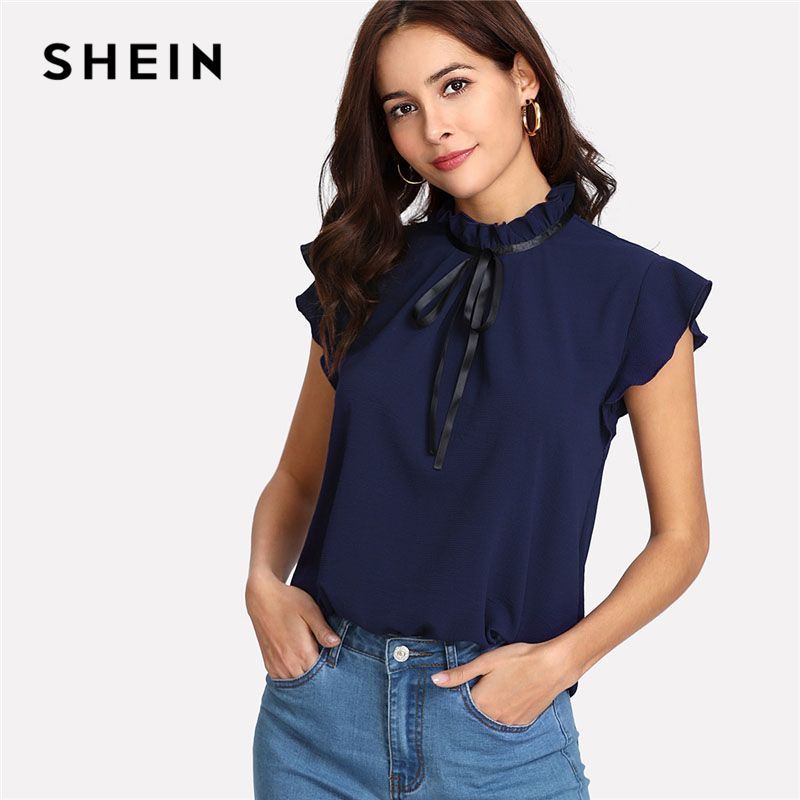 SHEIN Bow Tied Frilled Neck <font><b>Button</b></font> Back Shirt Navy Stand Collar Sleeveless Women Chiffon Blouse Spring Casual Work Blouse