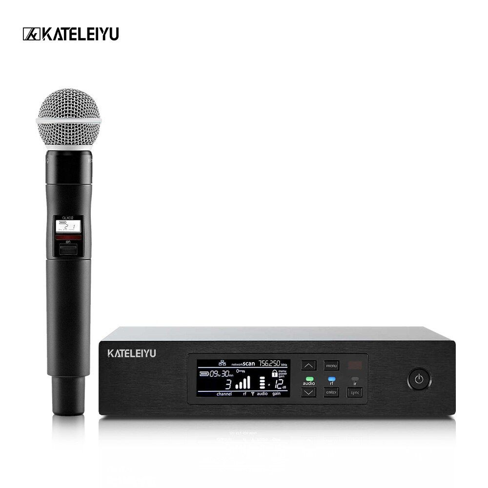 Wireless Microphones Long-Range True Diversity UHF Professional Wireless Microphone System QLXD4 Wireless MIC Stage Performance