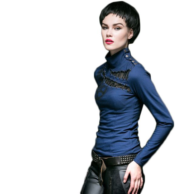 Gothic Punk High Collar Long Sleeve T-shirt Slim Fit Women Top Shirt Hollow-out Spring Tee Shirts