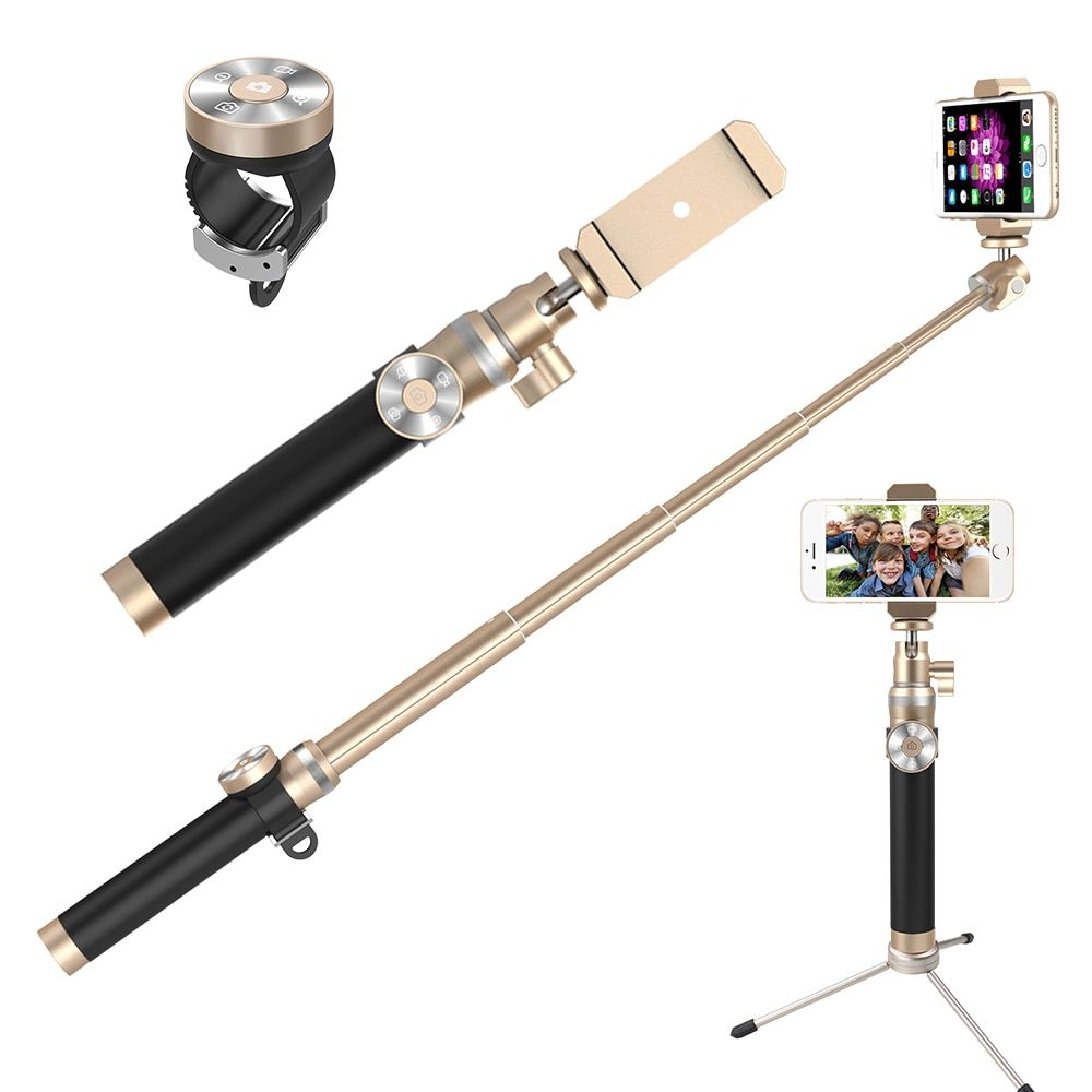 Fashion Extendable Self Selfie Stick Handheld Monopod+Clip Holder+Bluetooth Shutter Remote Controller for iPhone/Android Phone