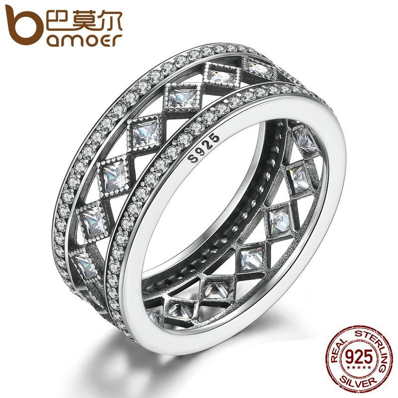 BAMOER Hot Sale 925 Sterling Silver Square Vintage Fascination, Clear CZ Big Ring For Women Luxury Fashion Jewelry S925 PA7601