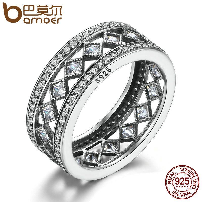 BAMOER offre spéciale 925 Sterling Argent Carré Vintage Fascination, Clair CZ grand anneau Pour Les Femmes De Luxe bijoux tendance S925 PA7601