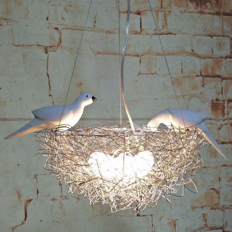 Creative bird's nest chandelier led aluminum wire bird bird egg chandelier Nordic art children's room restaurant study led lamps