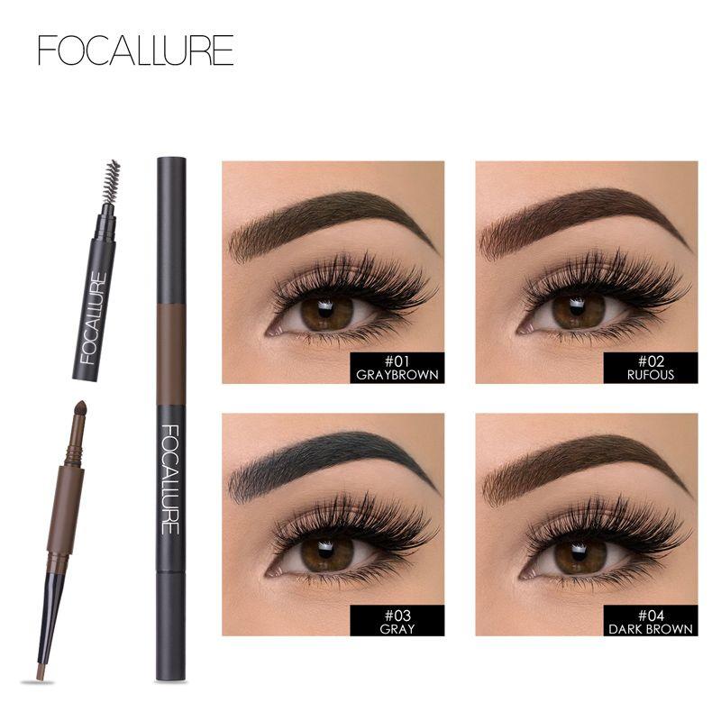 FOCALLURE Augenbraue Bleistift 3 in 1 Auto Wasserdichte Augen Make-Up Stirn Shades Pinsel Pulver Farbton Keine Ton Lange Anhaltende Marke eye Make up