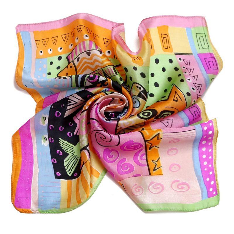 Luxus Marke Fisch Katze Animal Print Schal für Frauen Red Bandana Halstuch Satin Foulard Joker Silk Square Neck Schals 53*53 cm 9050