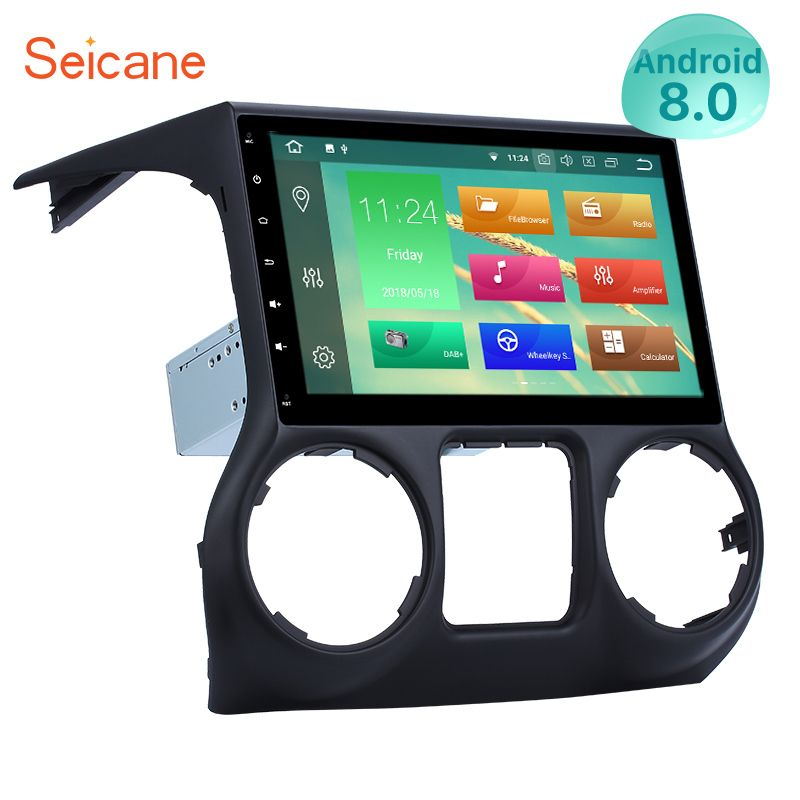 Seicane 10.1 Inch Android 8.0 GPS Navigation Stereo 1024*600 Radio for 2011-2017 JEEP Wrangler Bluetooth with Mirror Link WIFI