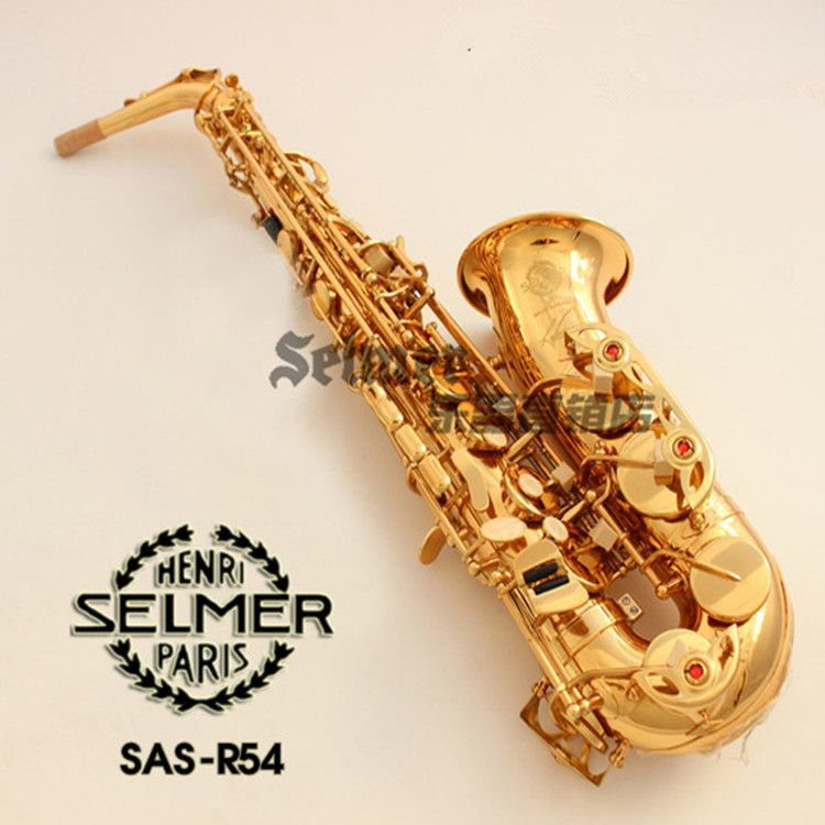 Hot sales Musical Instruments Saxophone Alto France Henry SELMER R54 Eb golden Sax Complete accessories Free shipping Saxofone