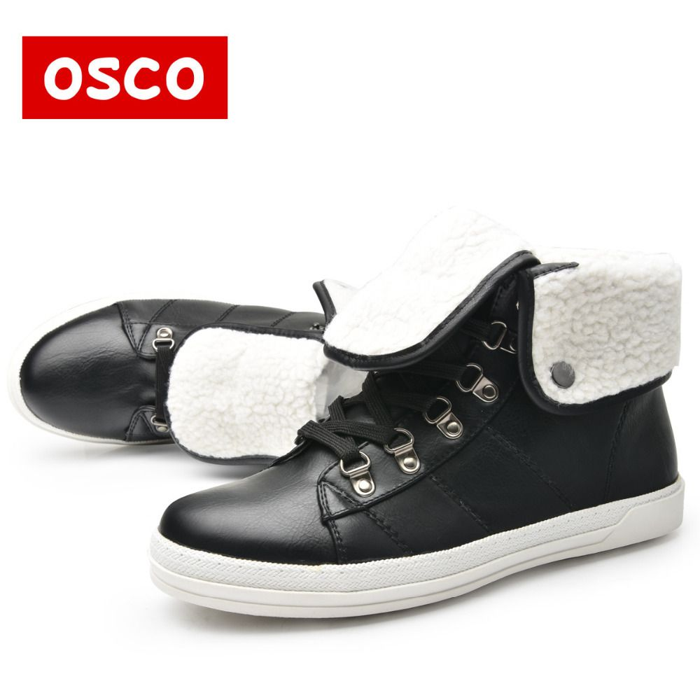 OSCO Brand New Arrival Winter Fashion Women Boots Warm Fur Ankle Snow Boots Black Ladies <font><b>Style</b></font> Winter Women Shoes#CC5911