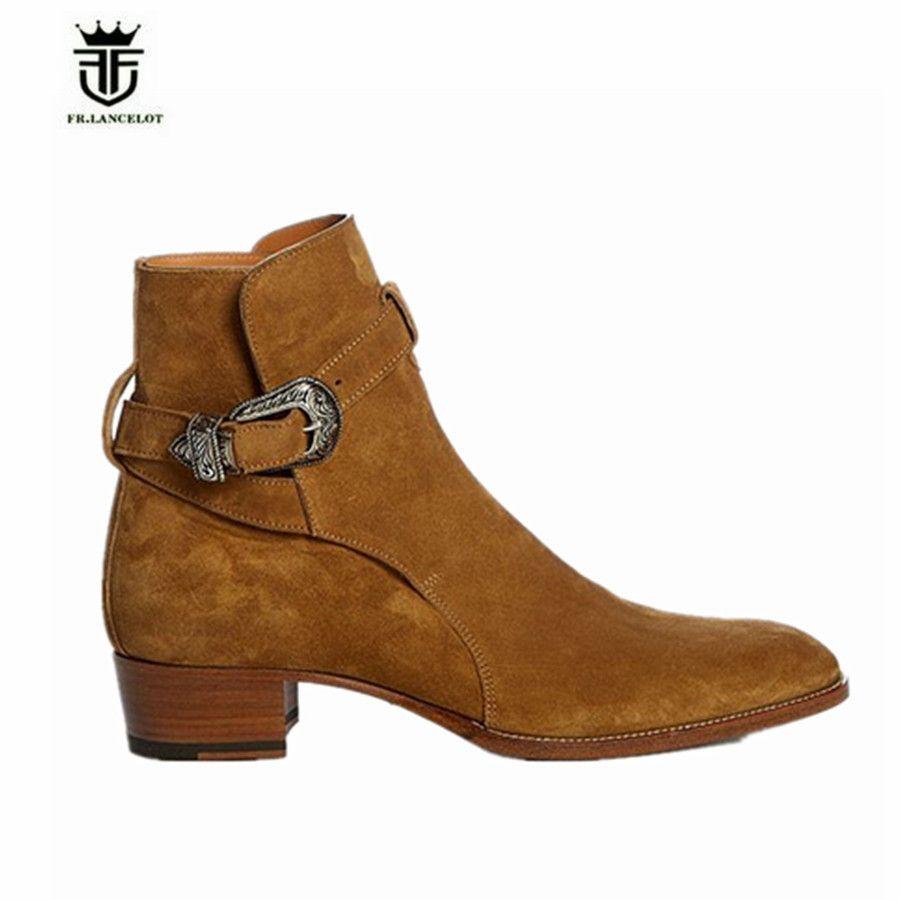 FR.LANCELOT High End Handmade Chelsea Men Boots Halley Buckle Strap Matte Leather Desert Orange Color Wedge Boots
