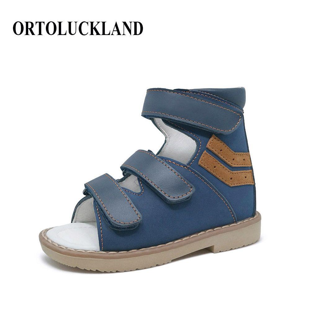 Élégant Nubuck Bule Hoop & Boucle Enfants Garçon Orthopédiques SandalsShoes Enfants Véritable Cuir Sain Chaussures Orthopédiques