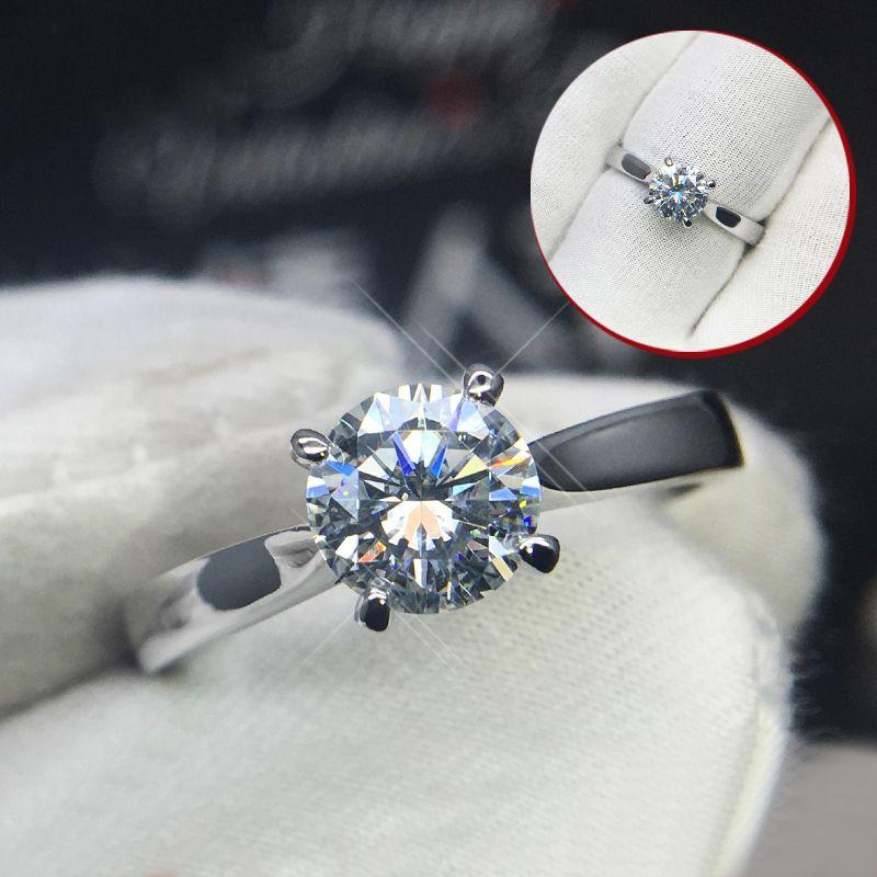 Reine 18 K Weiß Gold Ring 1ct 2ct 3ct VVS1 DF farbe Runde Cut Klassische stil Hochzeit schmuck ring Jahrestag engagement Für Frau