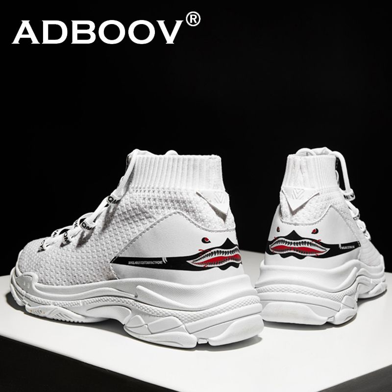 ADBOOV High Top Sneakers Men Unisex Knit Upper Breathable Shoes Fashion Shark Logo <font><b>Couple</b></font> Black / White Shoes Shoes Casual