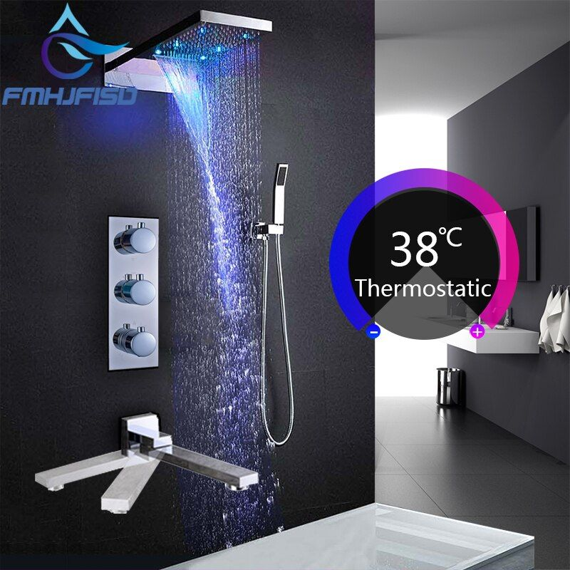 Concealed Bath Shower Faucets LED Luxury Waterfall Shower Head Thermostatic 4 Ways Valve Bathroom Shower Faucet Sets