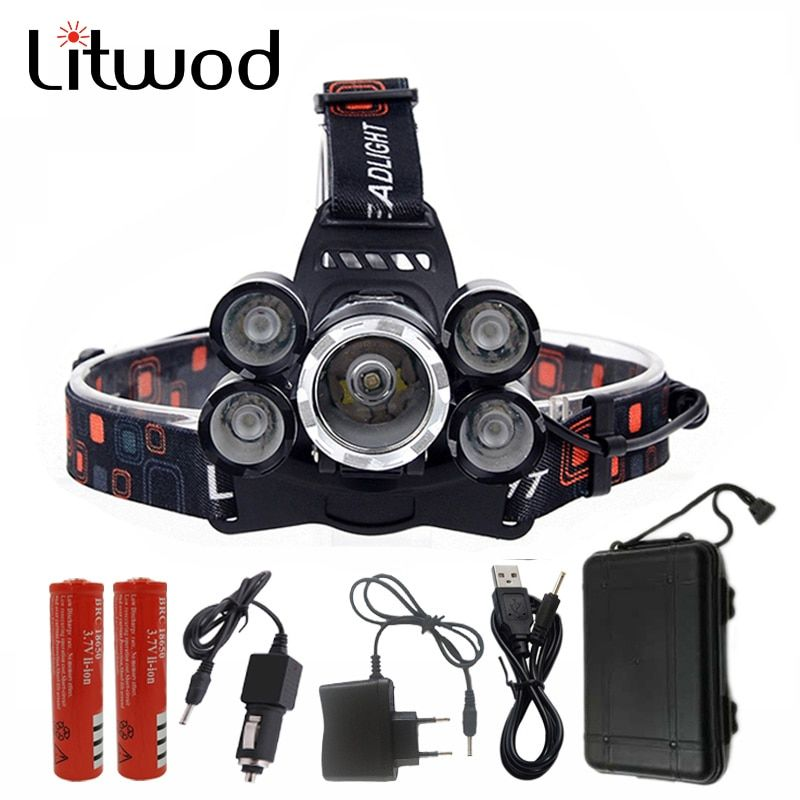 Litwod Z30 NEW 15000Lm XML T6 5 LED Headlight Headlamp Head Lamp Light 4 mode torch 2x18650 battery Car charger for fishing