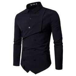 Hommes de Chemise 2018 Printemps Nouvelle Marque Hommes Slim Fit Robe Chemise Masculine À Manches Faux deux Chemise Décontractée Camisa Masculina