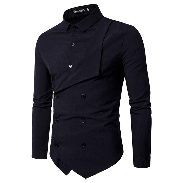 Men Shirt 2018 Spring New Brand Men's Slim Fit Dress Shirt Male Long Sleeves Fake two Casual Shirt Camisa Masculina