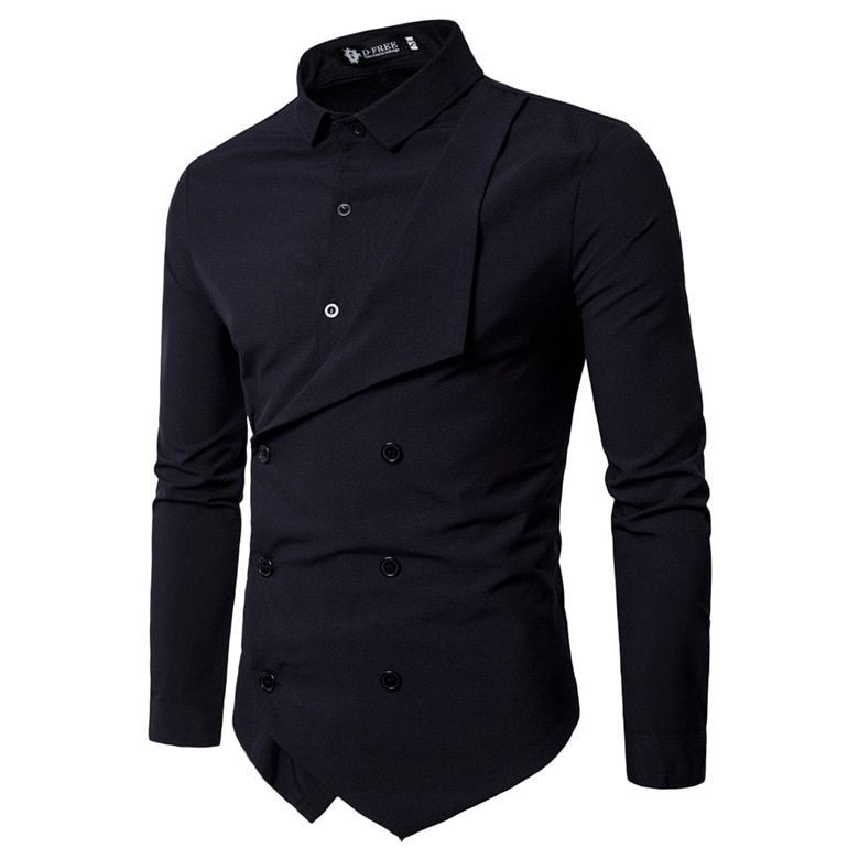 Men Shirt 2018 Spring New Brand Men's Slim Fit Dress Shirt Male Long Sleeves Fake two Casual Shirt Camisa Masculina