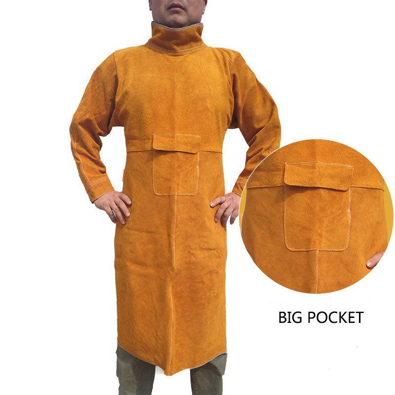 Schweiß Lange Mantel Schürze Strapazierfähigem Leder Langärmelige Schweißer Schutzkleidung flammschutzmittel Arbeitssicherheit Kleidung