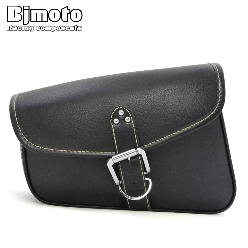 BJMOTO Universal Motorcycle PU Leather Saddlebags Saddle Bag with Ample Space to Store Tool Pouch Side Bags BAG-009L-BK