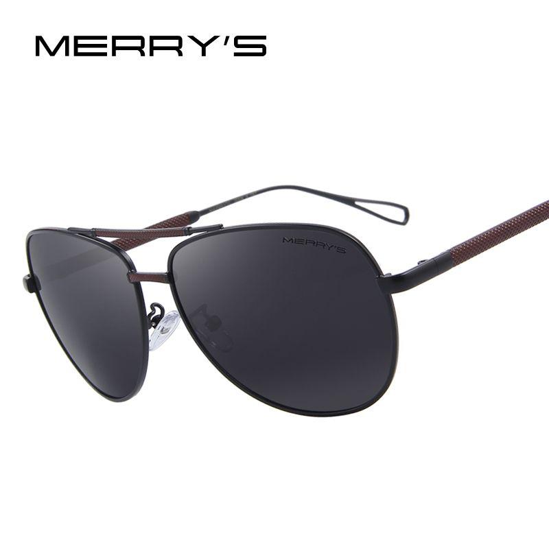 MERRY'S Männer Klassische Luftfahrt sonnenbrille HD Polarisierte Luxury Aluminium Fahren sonnenbrille S'8718