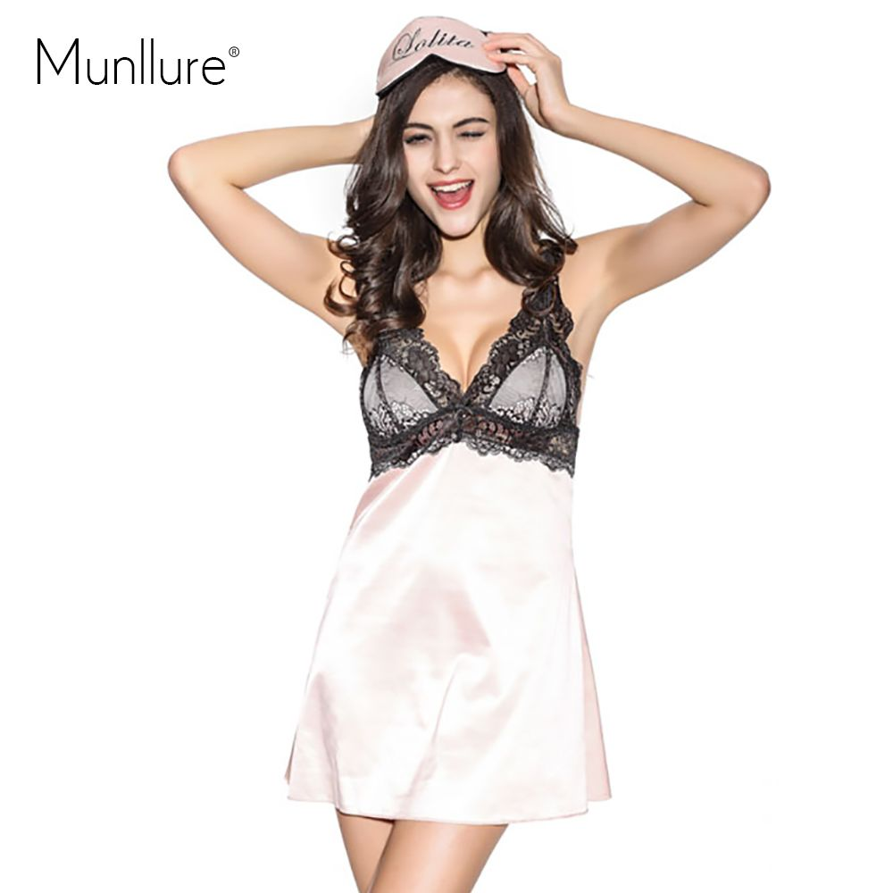 Munllure Meat pink satin quality faux silk set lace decoration sexy sleepwear nightgown