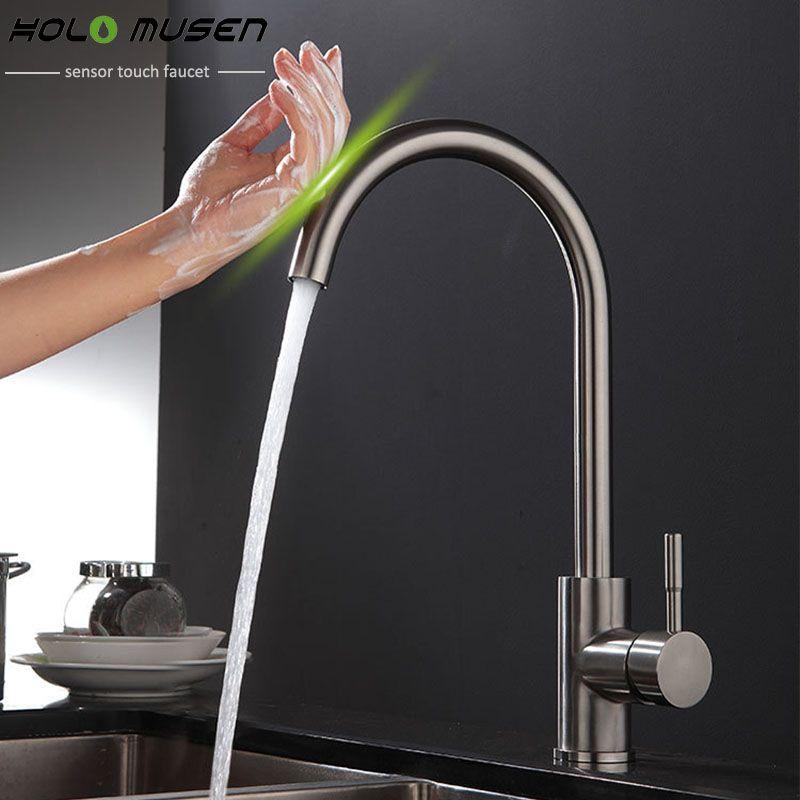 Новое поступление свинца SUS304 Нержавеющаясталь сенсорный кран Кухня touch Управление чувствительной кран смесителя Кухня touch