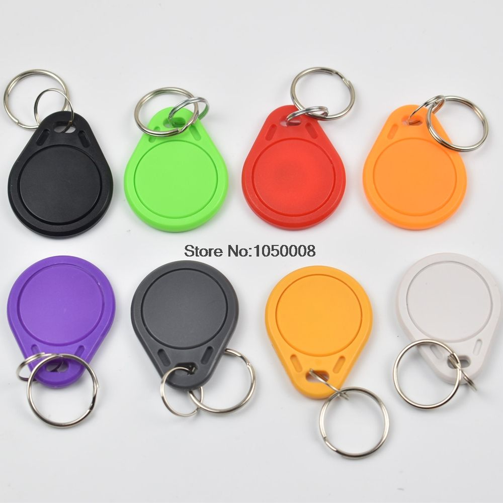 50pcs/lot   T5577 Rewritable Programmable RFID 125 KHz Keychain Keyfobs Key Finder For Copy EM4100 Cards
