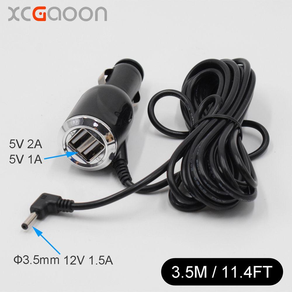 XCGaoon 3.5mm Port voiture chargeur pour voiture Radar détecteur/GPS entrée 12V sortie 12V 1.5A avec 2 Port USB 5V 3A, longueur de câble 3.5M