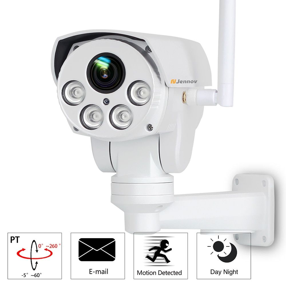 PTZ Wifi 1080P HD 2.8-12mm Lens 4X Zoom IP Camera CCTV Security Network Video Surveillance Outdoor Audio Email Alarm Led Light