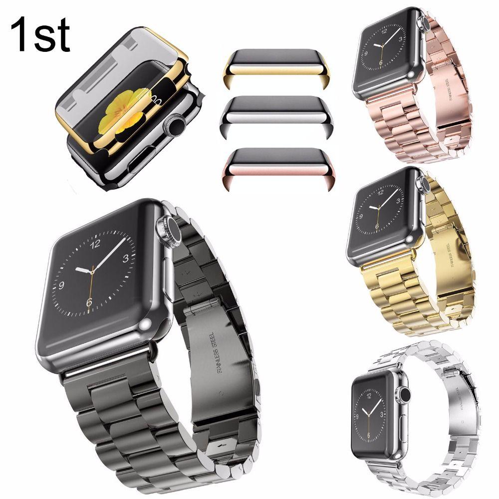 Inoxydable Bracelet En Acier Écran Protecteur Or Placage Housse De Protection Cas Montre Bande Pour Apple Watch iWatch 38mm 42mm Bracelet