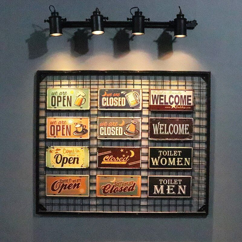 DL-Vintage Signs open closed welcome Tin Metal Painting Car License Plate Wall Decor Poster Retro Plaque Sign Home Decor